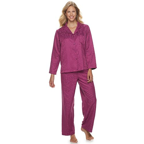 Petite Miss Elaine Essentials Brushed Back Satin 2-Piece Pajama Set