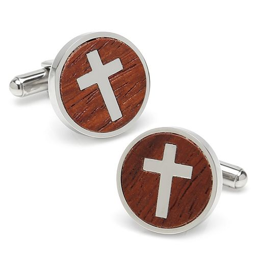 Men's Cross Round Wood Stainless Steel Cuff Links by Ox & Bull Trading Co.