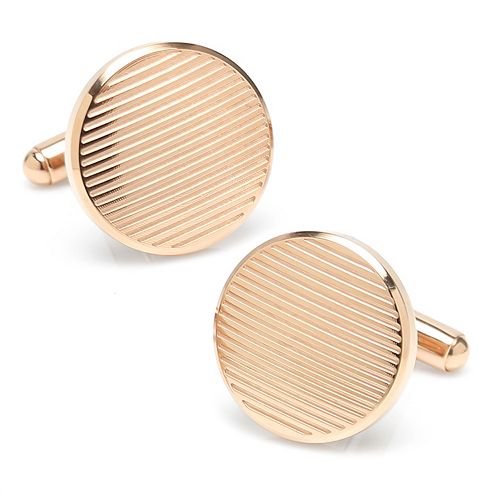 Men's Rose Gold Line Stainless Steel Cuff Links