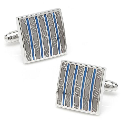 Men's Gray & Blue Striped Square Cuff Links