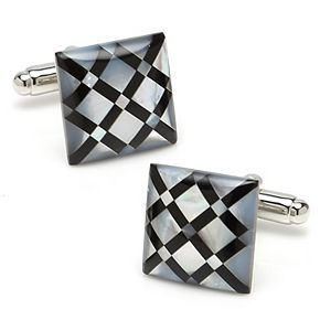 Men's White Mother-of-Pearl Diamond Cuff Links