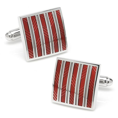 Men's Red and Gray Striped Square Cuff Links