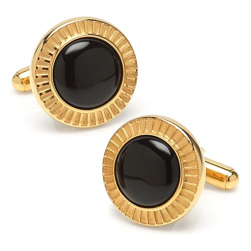 Men's Radiant Onyx Stainless Steel Cuff Links