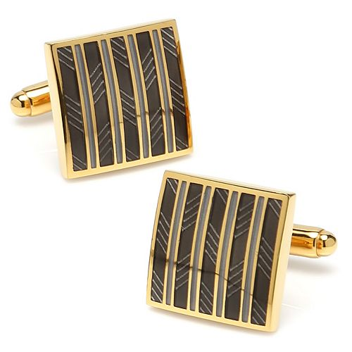 Men's Black and Gold Striped Square Cuff Links