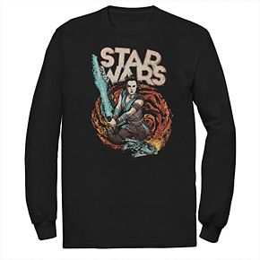Men's Star Wars The Rise of Skywalker Rey Retro Swirl Long Sleeve Graphic Tee