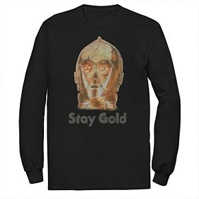 Men's Star Wars The Rise of Skywalker C-3PO Stay Gold Long Sleeve Graphic Tee