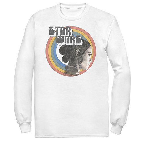 Men's Star Wars The Rise of Skywalker Rey Vintage Rainbow Long Sleeve Graphic Tee