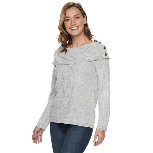 Women's Croft & Barrow® Button-Accent Portrait Neckline Sweater