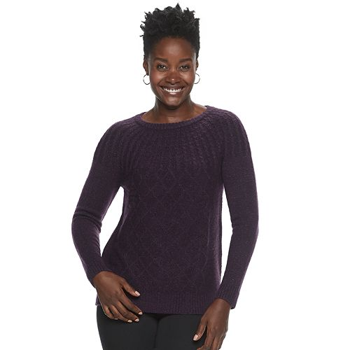 Women's Croft & Barrow® Cable-Knit Lurex Crewneck Sweater
