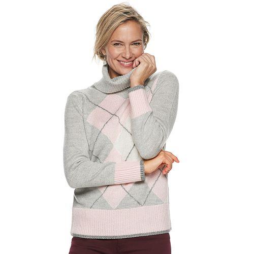 Women's Croft & Barrow® Argyle Mockneck Pullover