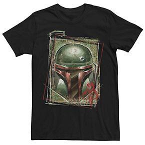 Men's Star Wars Boba Fett Grungy Helmet Rough Sketch Stamp Graphic Tee