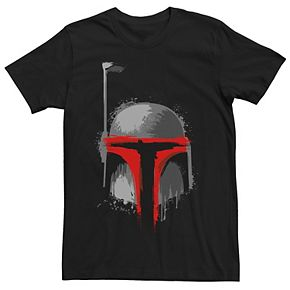 Men's Star Wars Boba Fett Dripping Paint Helmet Graphic Tee
