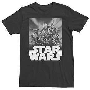 Men's Star Wars Chewbacca Group Fight Poster Graphic Tee