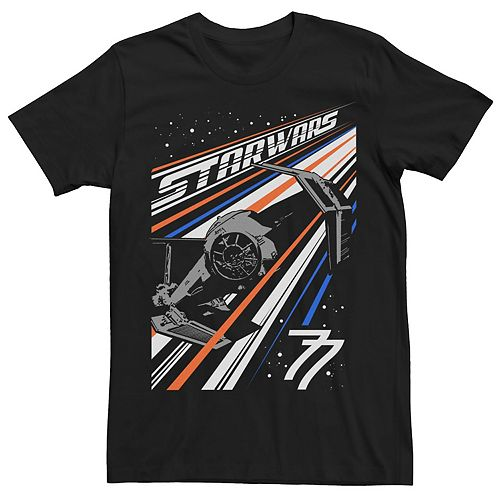 Men's Star Wars Tie Fighter Color Stripes Space Poster Graphic Tee