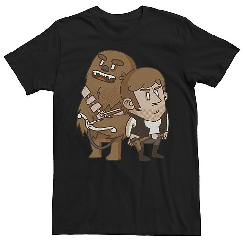 Men's Star Wars Han Solo Chewbacca Cartoon Duo Graphic Tee