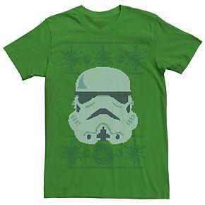 Men's Star Wars Stormtrooper Helmet Ugly Christmas Sweater Graphic Tee