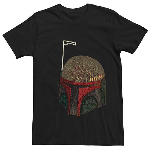 Men's Star Wars Boba Fett Hand Crocheted Plushie Helmet Graphic Tee