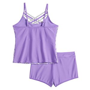 Girls 4-16 Free Country Shiny Seashell Criss-Cross Tankini & Bottoms Swimsuit Set
