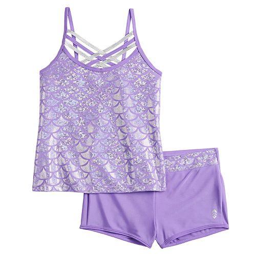 Girls 4-16 Free Country Shiny Seashell Criss-Cross Tankini & Bottoms Swimsuit Set