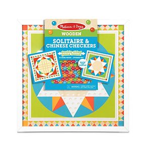 Melissa & Doug Double-Sided Wooden Solitaire & Chinese Checkers Board Game