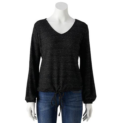 Petite LC Lauren Conrad Lurex Drawstring Sweatshirt