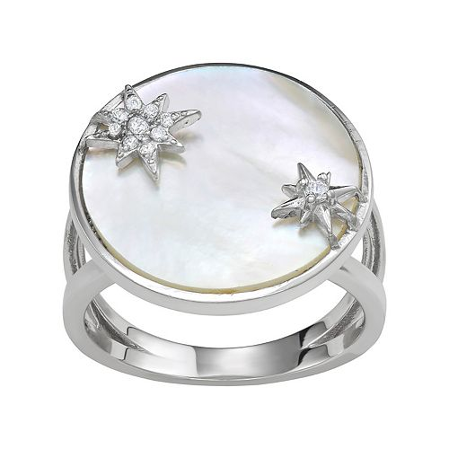 Mother of Pearl Star Disc Ring
