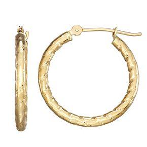Forever 14K Gold Textured Hoop Earrings