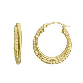 Forever 14K Textured Double Hoop Earrings