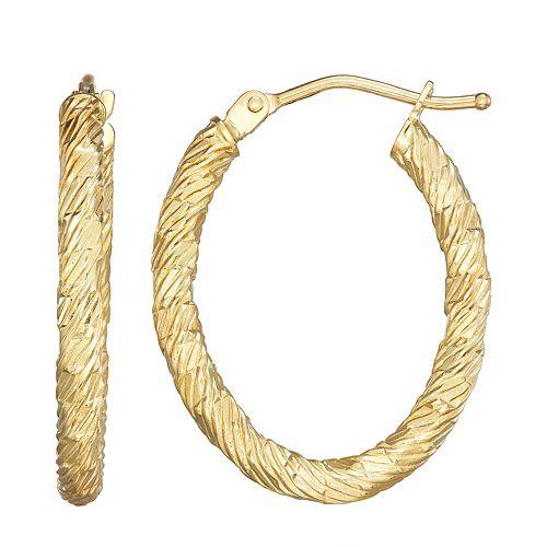 Forever 14K Gold Oval Rope Hoop Earrings