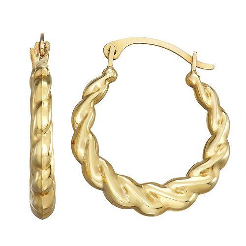 Forever 14K Gold Braided Hoop Earrings