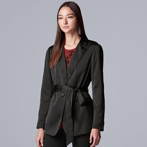 Petite Simply Vera Vera Wang Tie-Waist Satin Blazer