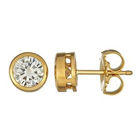 Charles & Colvard 14k Gold 1 Carat T.W. Lab-Created Moissanite Bezel Stud Earrings