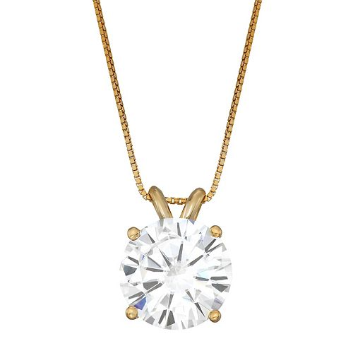 Charles & Colvard 14k Gold 3 1/10 Carat T.W. Lab-Created Moissanite Solitaire Pendant Necklace