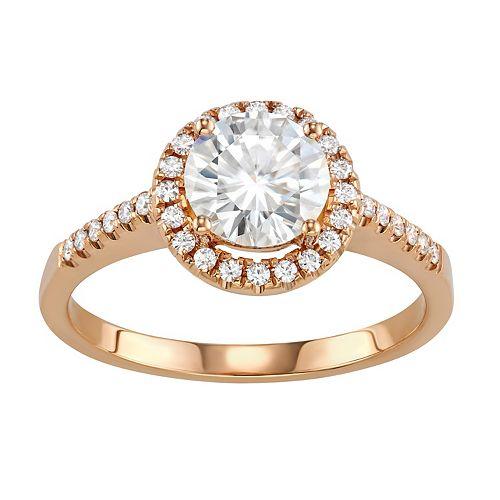 Charles & Colvard 14k Gold 1 3/4 Carat T.W. Lab-Created Moissanite Halo Engagement Ring