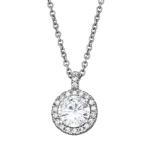 Charles & Colvard 14k White Gold 2 1/4 Carat T.W. Lab-Created Moissanite Halo Pendant Necklace