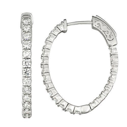 Charles & Colvard 14k White Gold 1 3/4 Carat T.W. Lab-Created Moissanite Hoop Earrings
