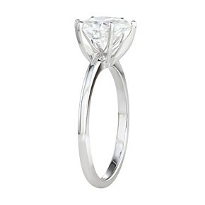 Charles & Colvard 14k White Gold 1 1/2 Carat T.W. Lab-Created Moissanite Pear Solitaire Engagement Ring