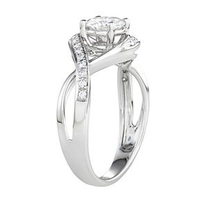 Charles & Colvard 14k White Gold 1 Carat T.W. Lab-Created Moissanite Twisted Shank Engagement Ring