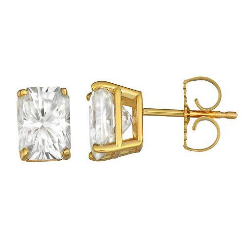 Charles & Colvard 14k Gold 2 3/8 Carat T.W. Lab-Created Moissanite Radiant Stud Earrings