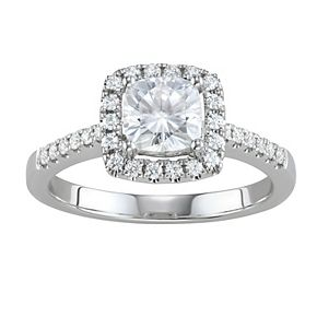 Charles & Colvard 14k White Gold 1 3/8 Carat T.W. Lab-Created Moissanite Cushion Halo Ring