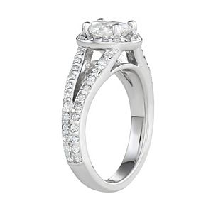Charles & Colvard 14k White Gold 1 1/2 Carat T.W. Lab-Created Moissanite Oval Halo Ring