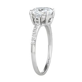 Charles & Colvard 14k White Gold 1 3/4 Carat T.W. Lab-Created Moissanite Cushion Engagement Ring