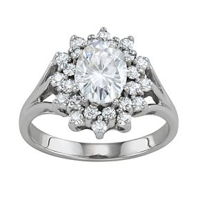 Charles & Colvard 14k White Gold 2 Carat T.W. Lab-Created Moissanite Oval Halo Cluster Ring