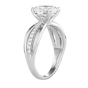 Charles & Colvard 14k White Gold 2 9/10 Carat T.W. Lab-Created Moissanite Split Shank Engagement Ring
