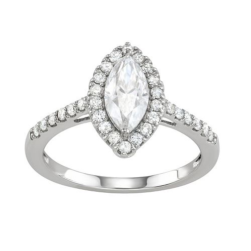 Charles & Colvard 14k White Gold 1 1/2 Carat T.W. Lab-Created Moissanite Marquise Halo Engagement Ring