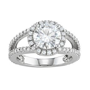 Charles & Colvard 14k White Gold 3 1/2 Carat T.W. Lab-Created Moissanite Split Shank Halo Ring