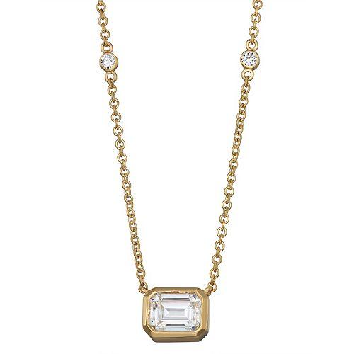 Charles & Colvard 14k Gold 1 7/8 Carat T.W. Lab-Created Moissanite Bezel Necklace