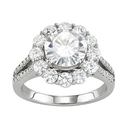 Charles & Colvard 14k White Gold 4 1/4 Carat T.W. Lab-Created Moissanite Split Shank Halo Ring
