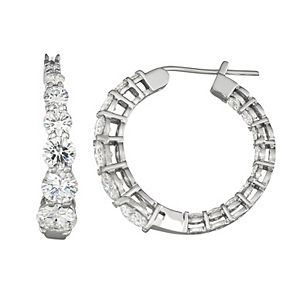 Charles & Colvard 14k White Gold 3 9/10 Carat T.W. Lab-Created Moissanite Graduated Hoop Earrings