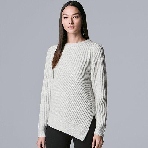 Petite Simply Vera Vera Wang Asymmetrical-Hem Ribbed Crewneck Sweater